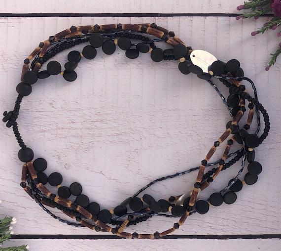 Vintage Black and Brown Necklace.