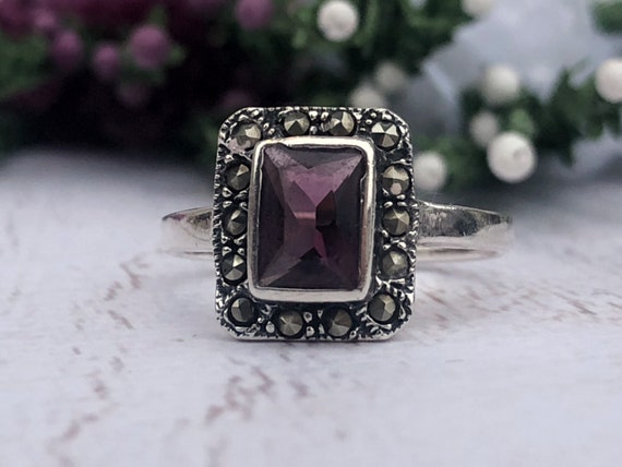 Vintage Amethyst and Marcasite Ring.