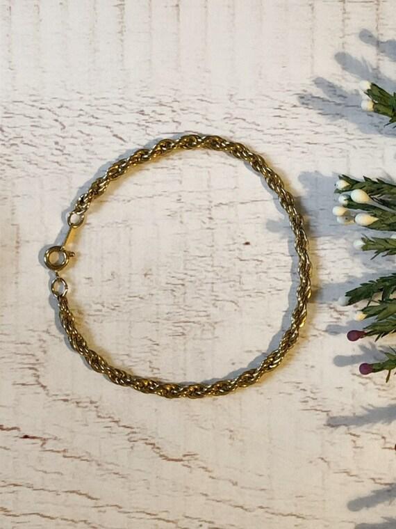 Vintage Gold Tone Chain Bracelet, Twist Chain Bracelet