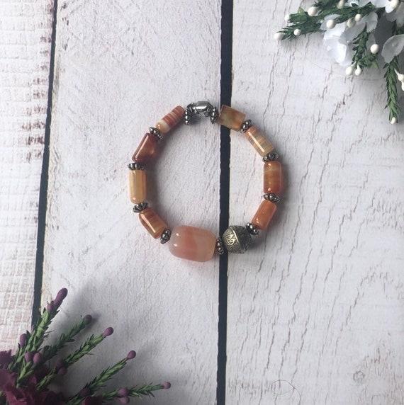 Pastel Scottish banded agate bracelet.