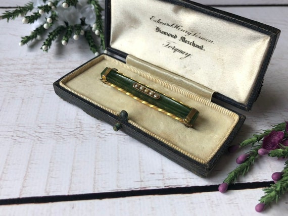 Nephrite Bar Brooch with Seed Pearls in Box, Antique Jade Brooch.
