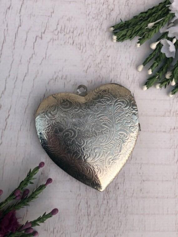 Large Silver Love Heart Locket