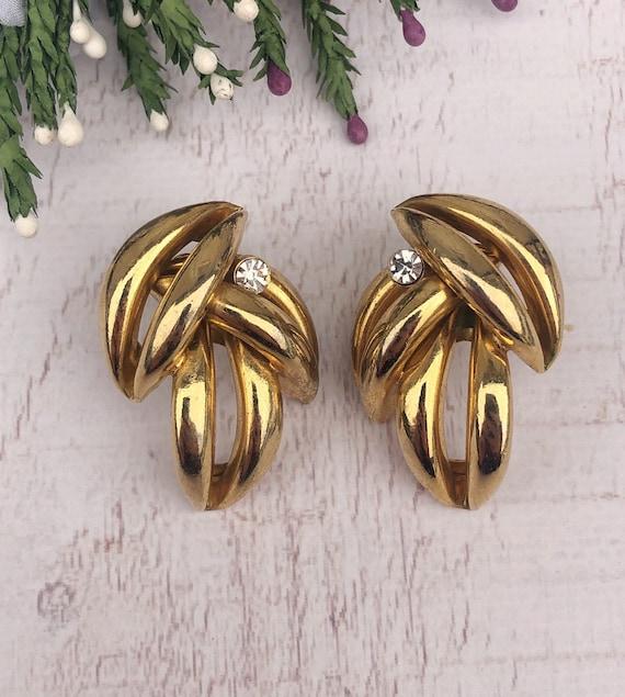 Vintage Gold Leaf Earrings.