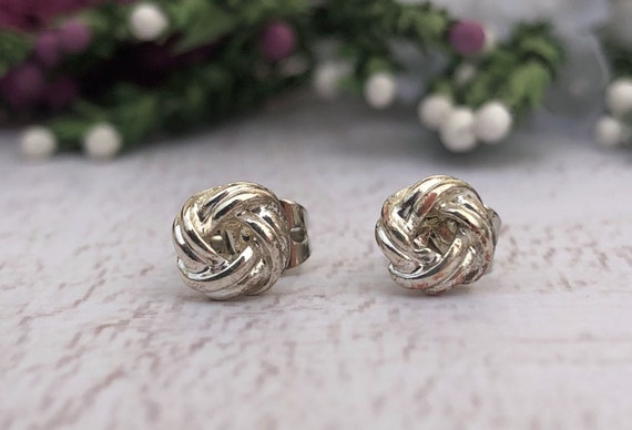 Vintage Silver Knot Stud Earrings.