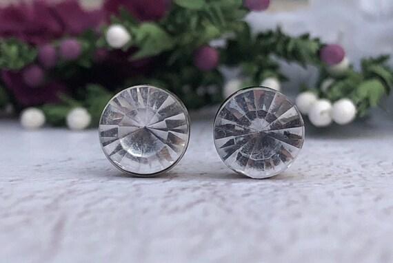 Vintage Diamond Glass Stud Earrings.
