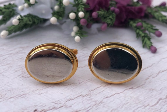 Vintage Gold and Silver Oval Cufflinks.