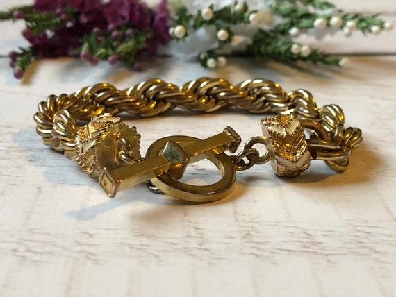 Chunky Vintage Rope Bracelet, Gold Rope Bracelet.