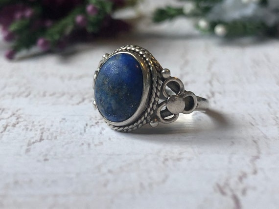 Antique Lapis Lazuli Ring, Blue Lapis Ring, Antique  Arr Nouveau Silver Ring.