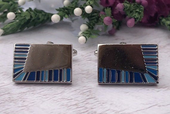 Silver and Blue Rectangle Cufflinks.