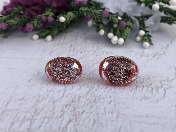 Vintage Orange Glass Stud Earrings. Dichroic Earrings.