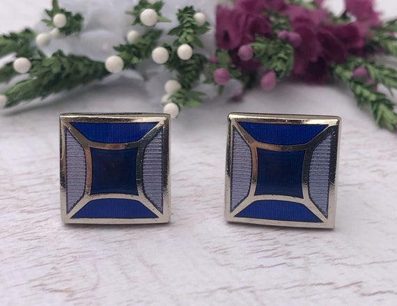 T.M. LEWIN Blue and Silver Cufflinks.