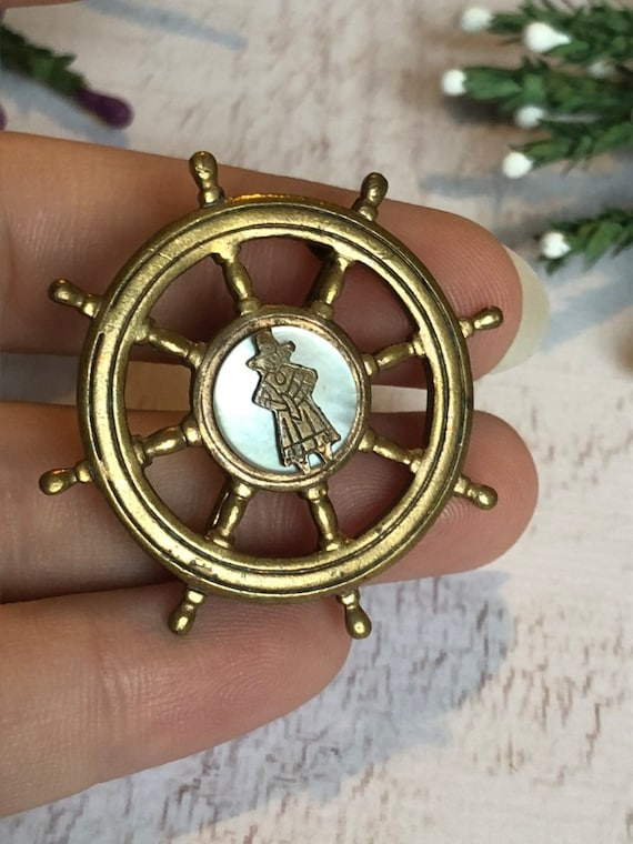 Antique Pirate Brooch, Mother of Pearl Brooch.
