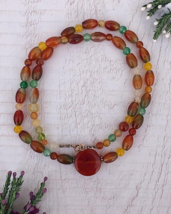 Vintage Rainbow Crystal Necklace.