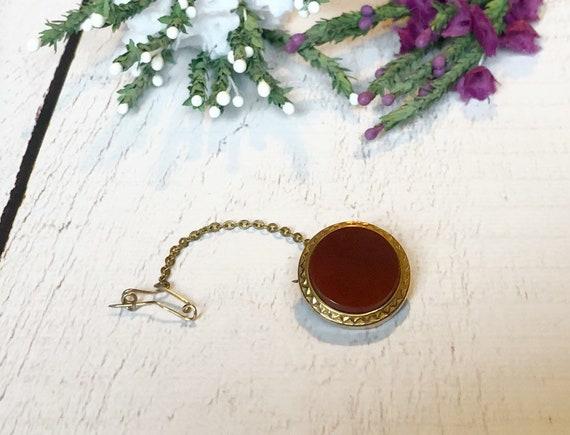Antique Carnelian Brooch, Scottish Brooch Pin