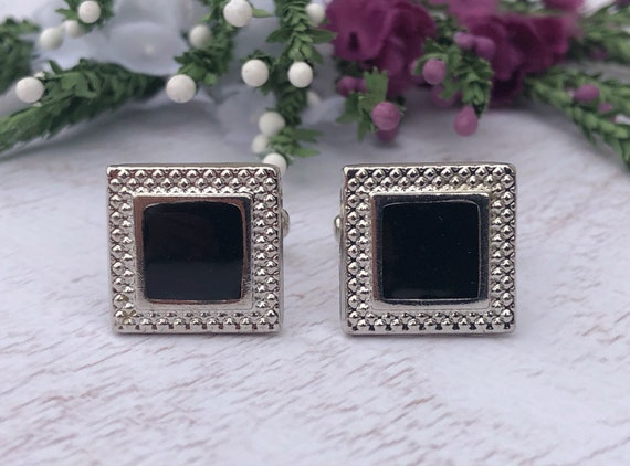 Vintage Silver and Black Square Cufflinks.