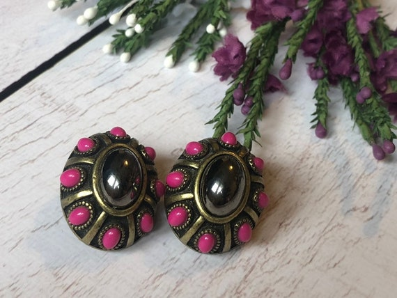 Vintage Hematite and Faux Coral Stud Earrings in Brass, Unusual Stud Earings.