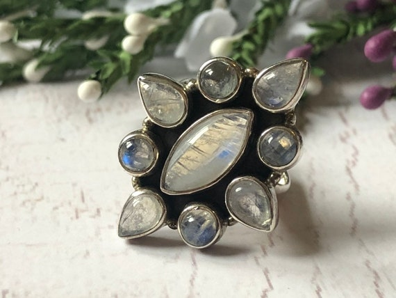 Vintage Moonstone Statement Ring, Sulver Moonstone Ring.