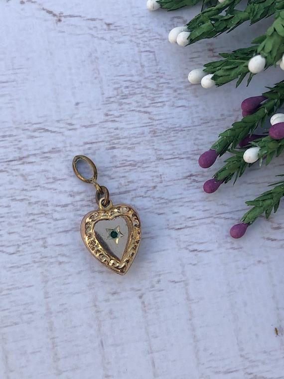 Antique Gold Tone Bracelet Charm. Love Heart Charm.