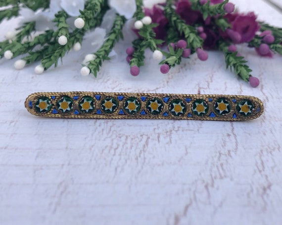 Antique Italian Micro Mosaic Bar Brooch.