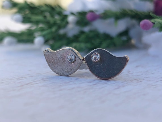 Silver Bird Stud Earrings.