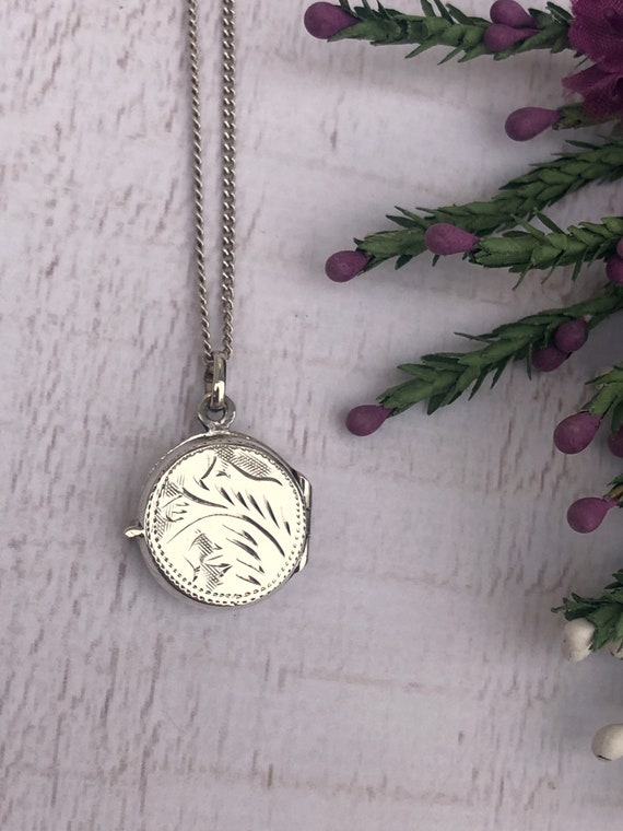 Dainty Sterling Silver Locket. Round Silver Locket Necklace.