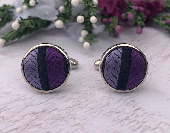 Vintage Scottish Purple Tartan Cufflinks.