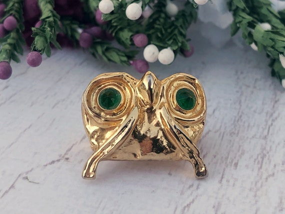 Vintage Gold Owl Brooch with Green Eyes
