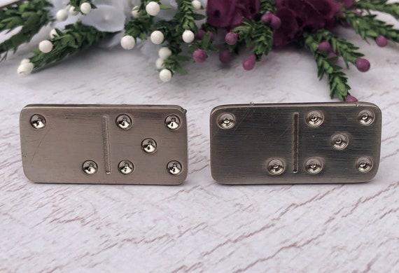 Vintage Silver Domino Cufflinks.