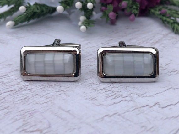 Vintage Silver and Blue Glass Rectangle Cufflinks.