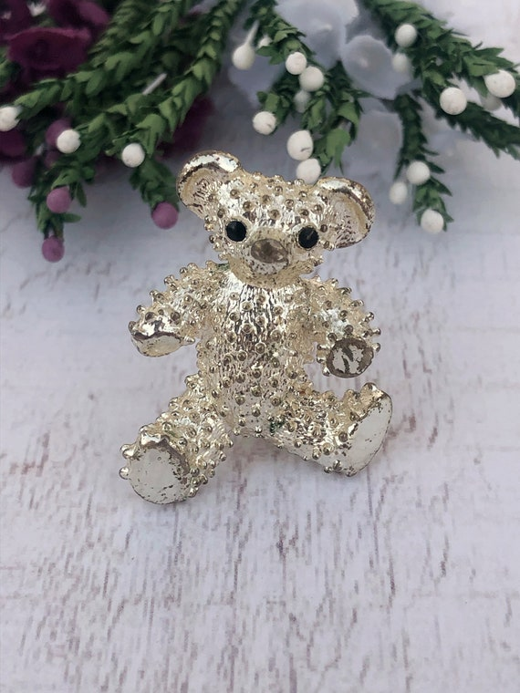 Vintage Silver Teddy Bear Brooch.