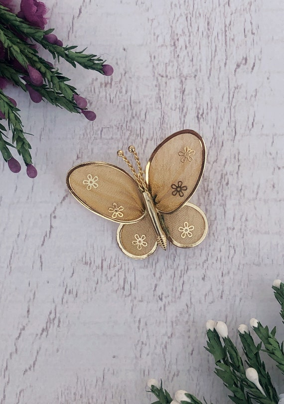 Gold Vintage Butterfly Brooch