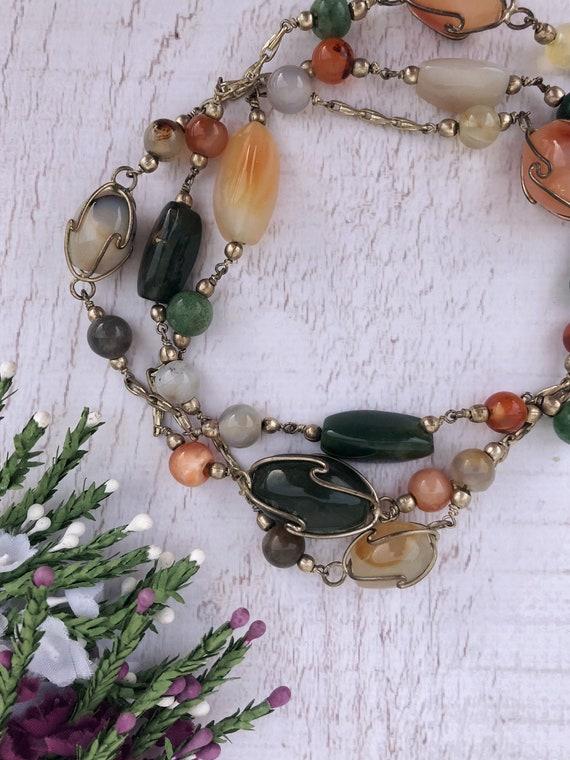 Vintage Wire Wrap Gemstone Necklace.