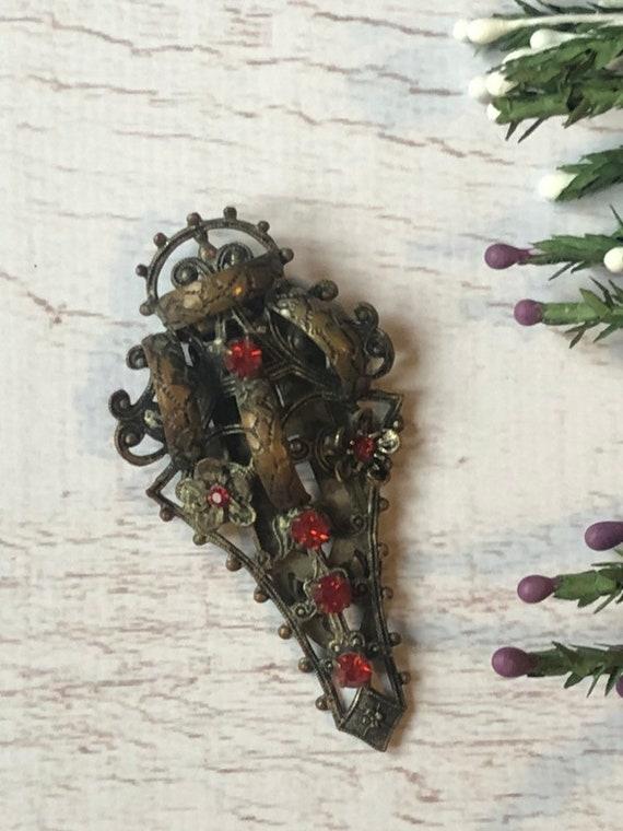 Antique Shoe Buckle, Antique Flower Clip.