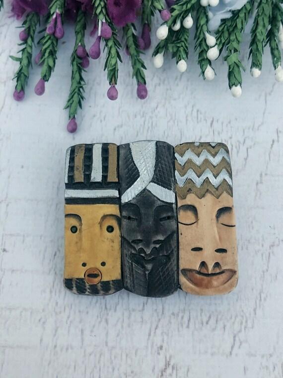 Vintage Moai Head Brooch, Wooden Totem Heads Brooch.