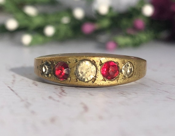 Antique Brass Ring with Ruby and Diamond Paste Stones.