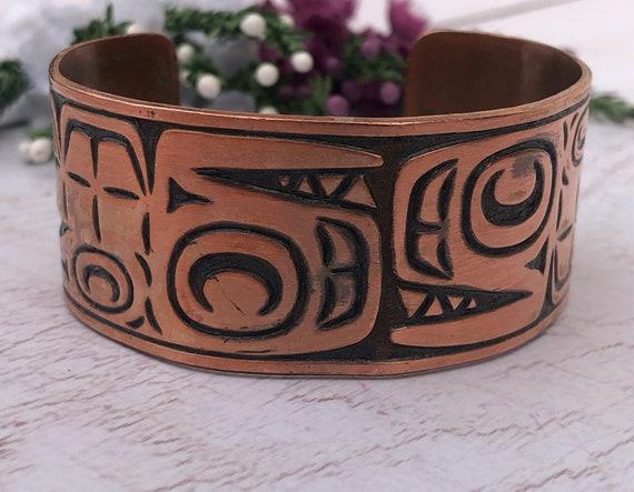 Tribal Style Copper Cuff Bracelet.