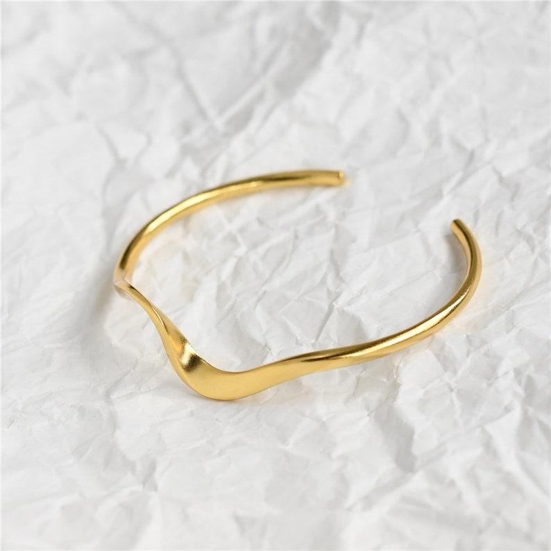 Wave Bracelet 14k Gold Plated Bracelet Sterling Silver Bracelet for Women Minimalist Bracelet Gold Dainty Gold Bracelet Cuff Bracelet Bangle