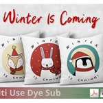 Christmas Winter Animals Set of 3 Cushion Designs - 300dpi PNGs and 600dpi PDFs -  For Dye Sublimation Design