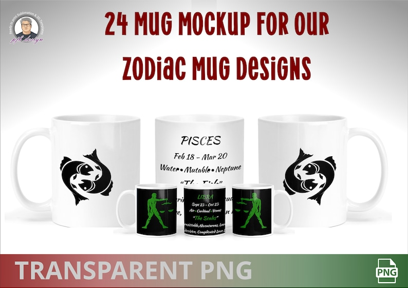 Zodiac Sign Set 24 Template Mug Mockup Files  Zodiac Sign image 0