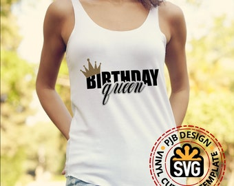 Birthday Queen Crown 3 colour shirt design htv design,  svg file, png, pdf, svg, ai eps for silhouettte or cricut print and cut or HTV