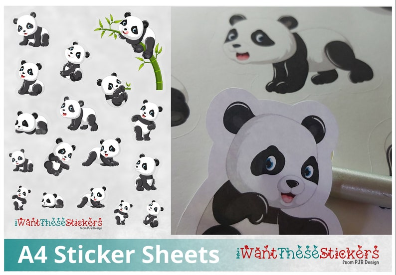 Cute Panda Sticker Sheet Animal Print Digital Download Print & image 0