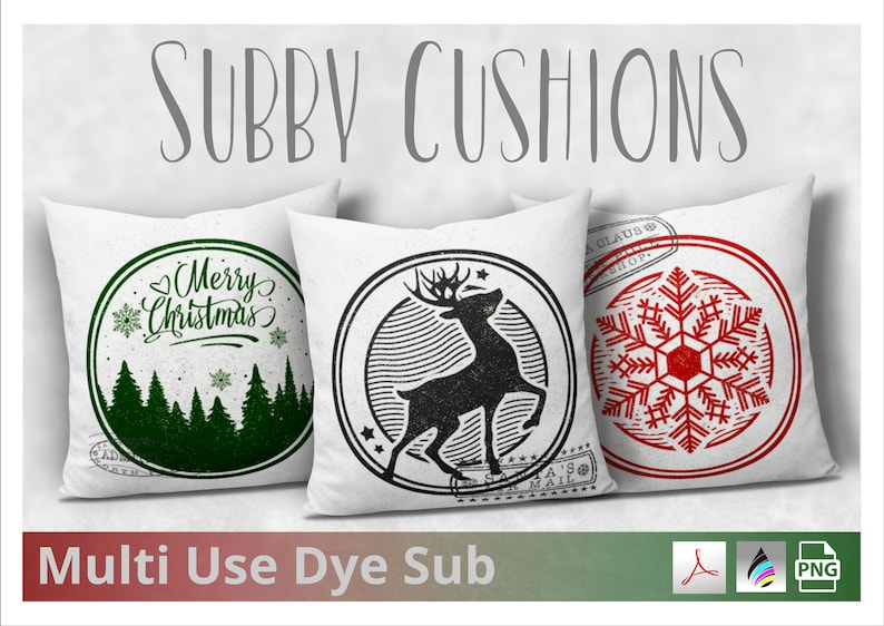 Vintage Design Christmas Cushion Covers with Postal Stamps  image 0