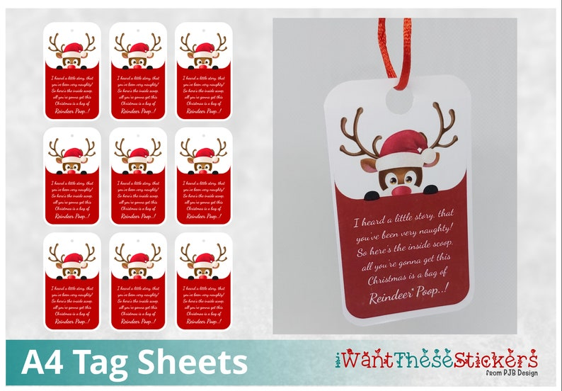 Reindeer Poop Tags  Digital Download Print & Cut  300PNG image 0