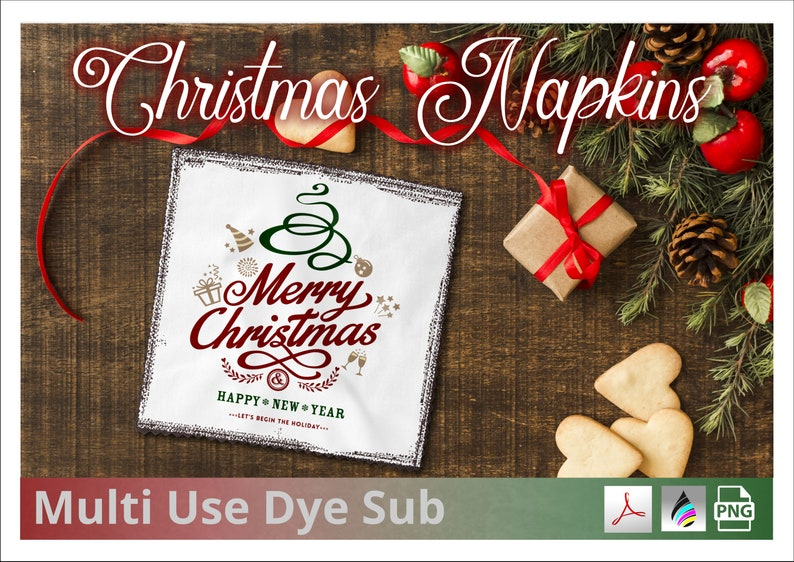 Christmas Lunch Napkin Design File for Dye Sublimation image 0