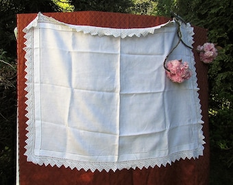 Lace Edged Linen Tablecloth from 1930's