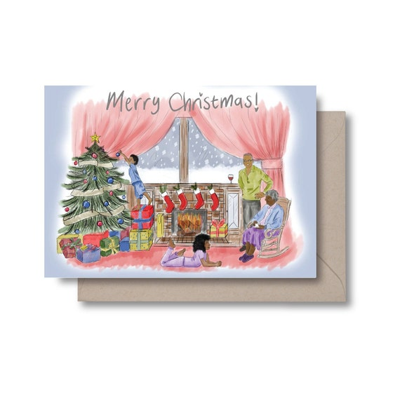 Christmas at Home - Black Family Greeting Card