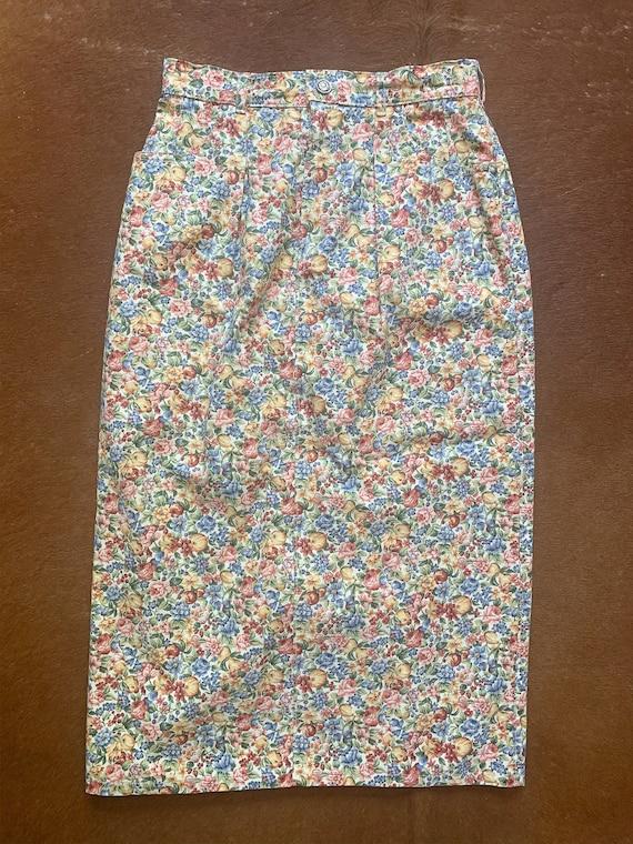 Vintage 1980's Floral Denim Skirt