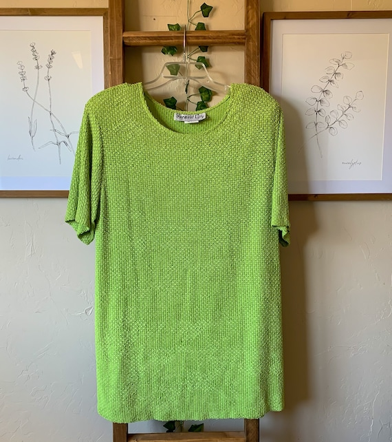 Vintage 1970's Green Blouse Size 14W