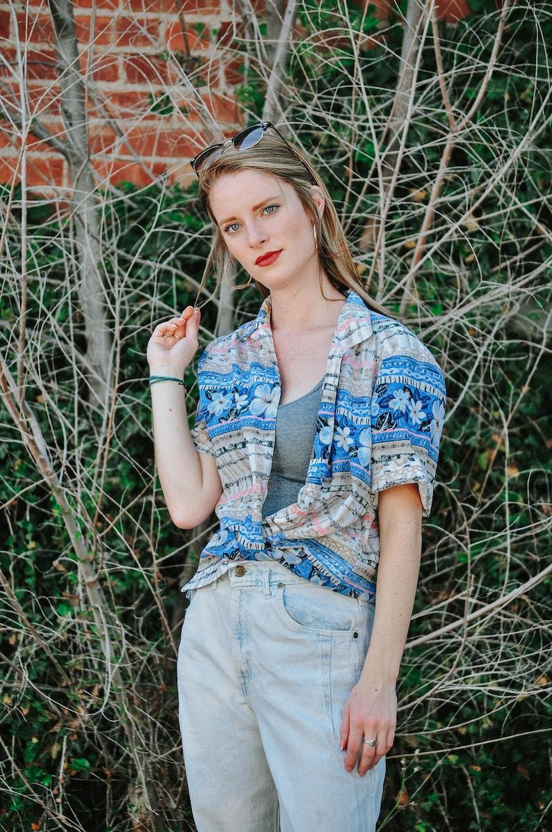 Vintage 80s Donnkenny Button Down Blouse Size Medium