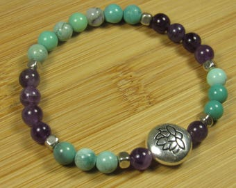 Chrysoprase and Amethyst Stretch Bracelet with Silver Plated Lotus Flower Bead